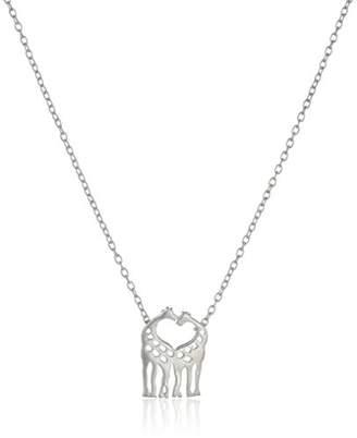 Sterling Open Heart Two Giraffe Mini Pendant Necklace