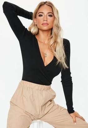 Missguided Black Wrap Front Knit Bodysuit