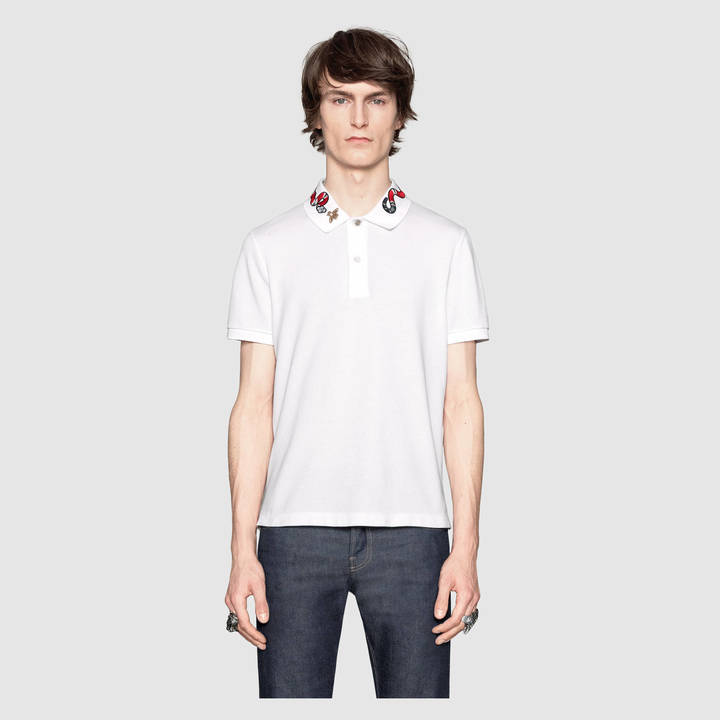 Cotton polo with Kingsnake embroidery 10