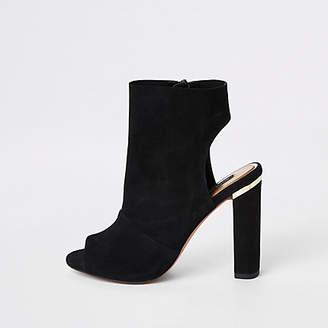 River Island Black suede side zip shoe boot
