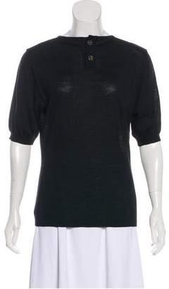 Salvatore Ferragamo Wool Short Sleeve Top