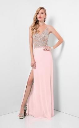 Terani Prom - Crystal Embellished Sheer Illusioned Bodice Prom Dress 1712P2511 $330 thestylecure.com