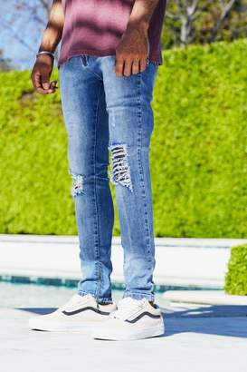 boohoo French Montana Super Skinny Fit Mid Blue Ripped Jeans