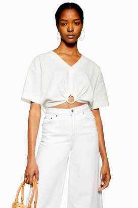Topshop Womens Ivory Laundered Buckle Detail Crop Blouse - Ivory