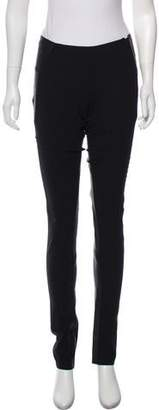 Talbot Runhof Mid-Rise Leather-Trimmed Pants