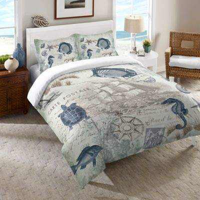 Laural Home® Seaside Postcard Twin Comforter in Blue