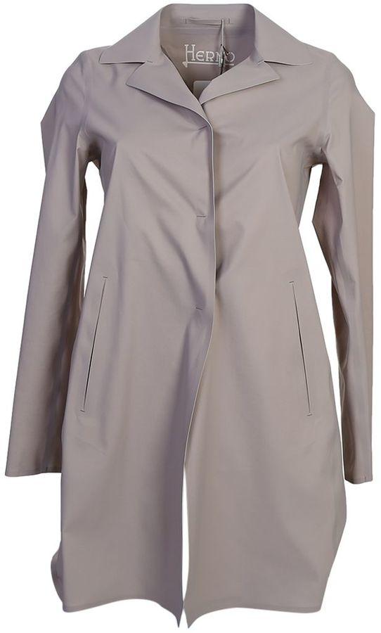 HernoTaupe Techno Fabric Mackintosh Coat