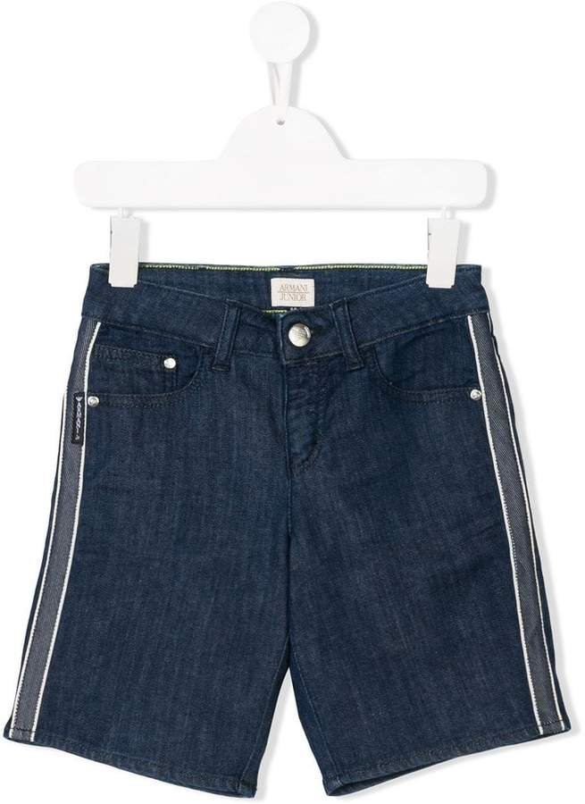side-striped denim shorts