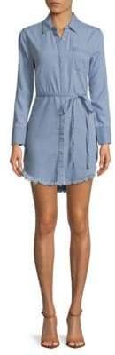Fringe-Trimmed Long-Sleeve Shirtdress