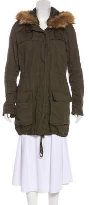 Vince Fur-Trimmed Zip-Up Jacket