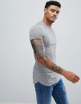 Asos Muscle Longline T-Shirt With Curved Bound Hem And Roll Sleeve In Twisted Rib