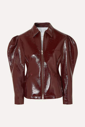 Pushbutton - Glossed Faux Leather Jacket - Brown