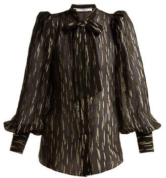 Givenchy Pussy Bow Metallic Fil Coupe Silk Blend Blouse - Womens - Black Gold