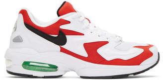 Nike White and Red Max2 Light Sneakers