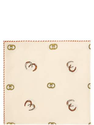 Gucci Gg And Horseshoe Print Silk Twill Pocket Square - Mens - Ivory