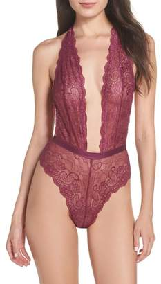 OH LA LA CHERI Plunge Neck Lace Bodysuit