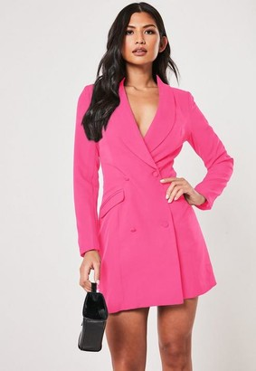 ad6441728b4c Missguided Neon Pink Double Breasted Blazer Dress