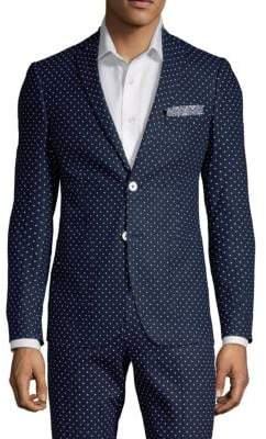 Polka Dot Linen-Blend Sportscoat