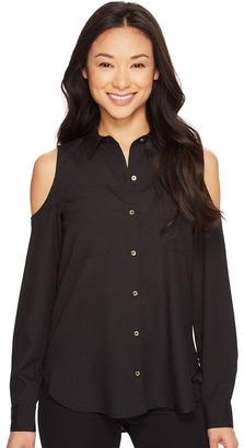 Calvin Klein - Long Sleeve Cold Shoulder Button Down Blouse Women's Blouse $69.50 thestylecure.com