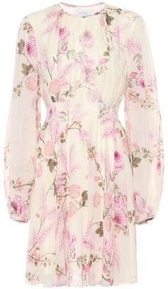 Giambattista Valli Pleated floral silk minidress