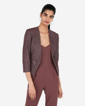 Express Textured Zip Pocket Cutaway Blazer