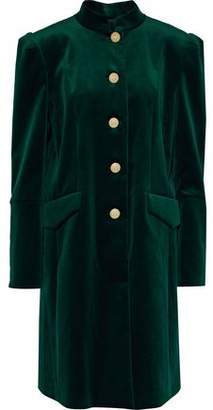 Pierre Balmain Button-Detailed Cotton-Blend Velvet Coat