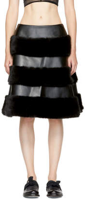 Noir Kei Ninomiya Black Faux-Leather Skirt