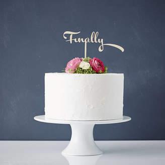 Sophia Victoria Joy Calligraphy 'Finally' Wooden Wedding Cake Topper