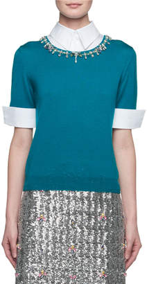 Mary Katrantzou Ella Embellished Point-Collar Knit Combo Top