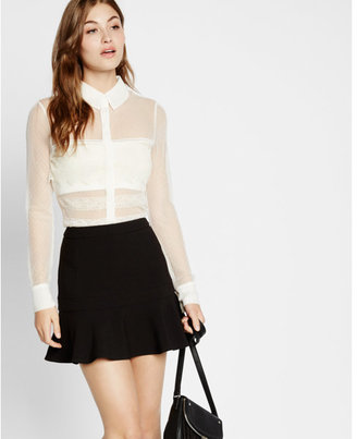 Express sheer mesh and lace long sleeve shirt $59.90 thestylecure.com