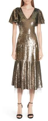 Sachin + Babi Ruffle Trim Sequin Dress