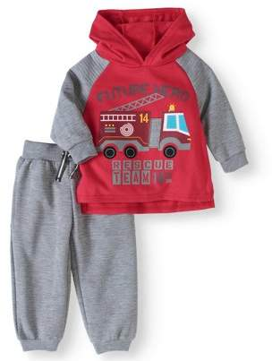 Nannette Baby Boys' Pullover Fleece Hoodie and Jogger Pants 2-Piece Outfit Set