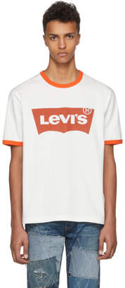 Junya Watanabe Off-White and Orange Levis Edition Logo T-Shirt