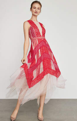 BCBGMAXAZRIA Floral Lace Handkerchief Dress