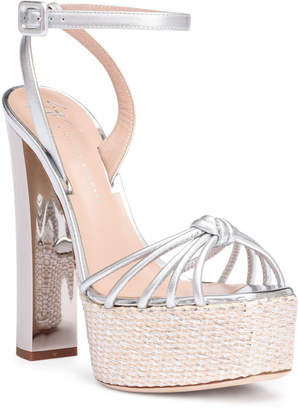 Giuseppe Zanotti Silver metallic leather platform sandals