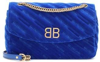 Balenciaga BB Round velvet shoulder bag
