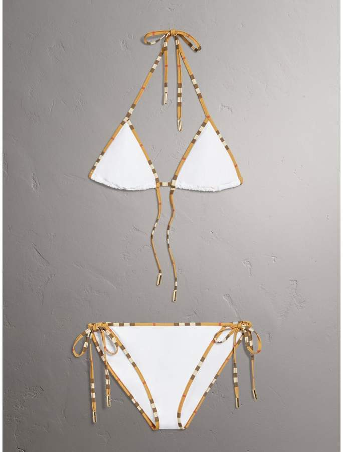 Burberry Vintage Check Trim Triangle Bikini