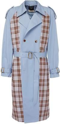 Junwei Lin Belted tartan plaid panel unisex twill trench coat