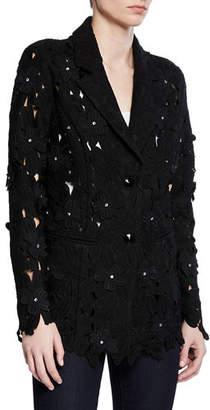 Berek Peek-A-Boo 3D Open Floral-Lace Button-Front Jacket, Petite