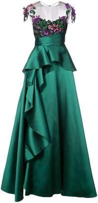 Marchesa floral-appliquéd peplum gown