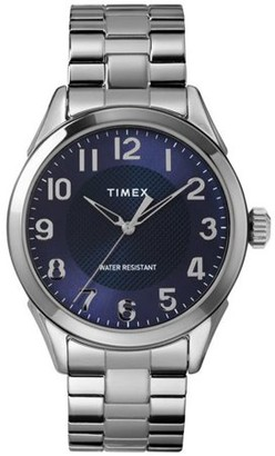 Timex Men's Briarwood 40mm Silver-Tone/Blue Watch, Stainless Steel Expansion Band