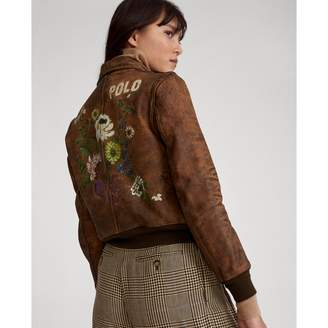 Ralph Lauren Painted Leather Bomber Jacket