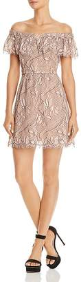 WAYF Terrace Off-the-Shoulder Lace Mini Dress