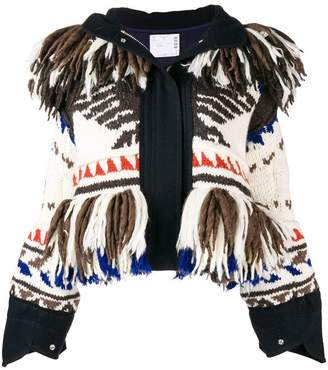 Sacai knitted hooded jacket