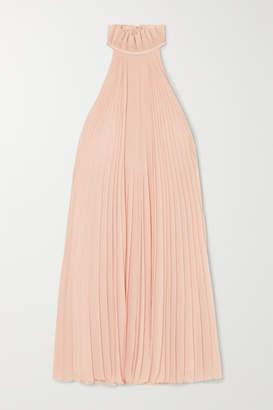 Givenchy Satin-paneled Ruffled Pleated Silk-georgette Halterneck Mini Dress - Pink