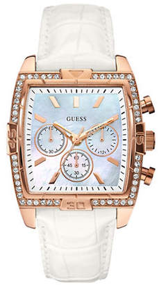 GUESS Rose Goldtone White Croco Stamped Leather Strap Chronograph Watch