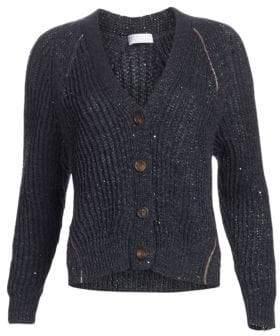 Brunello Cucinelli Women's Ribbed Button-Front Cardigan - Midnight - Size Medium