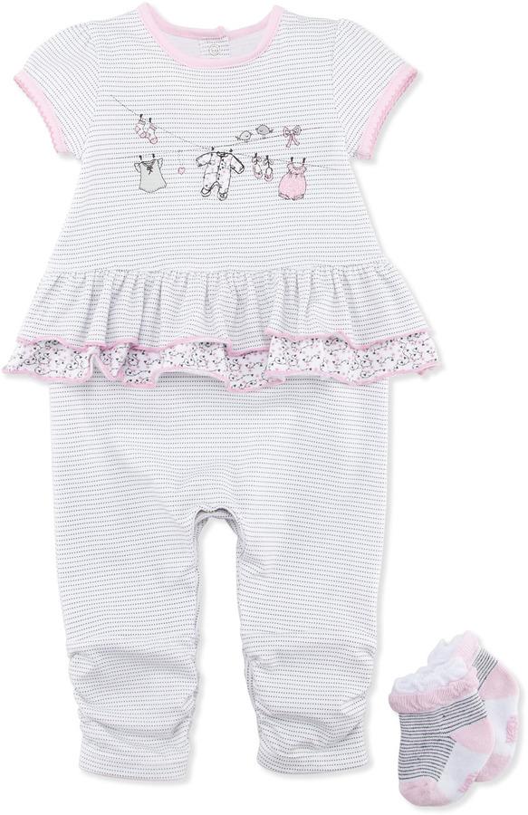 Petit Lem Clothesline-Print Jumpsuit & Socks, 3-9 Months