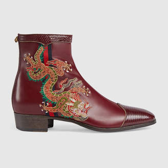 Gucci Leather boot with dragon