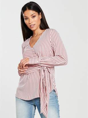 Warehouse Stripe Long Sleeve Wrap Top - Blush